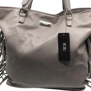 BCBG Fringe Tote Gray Faux Leather Shoulder Bag